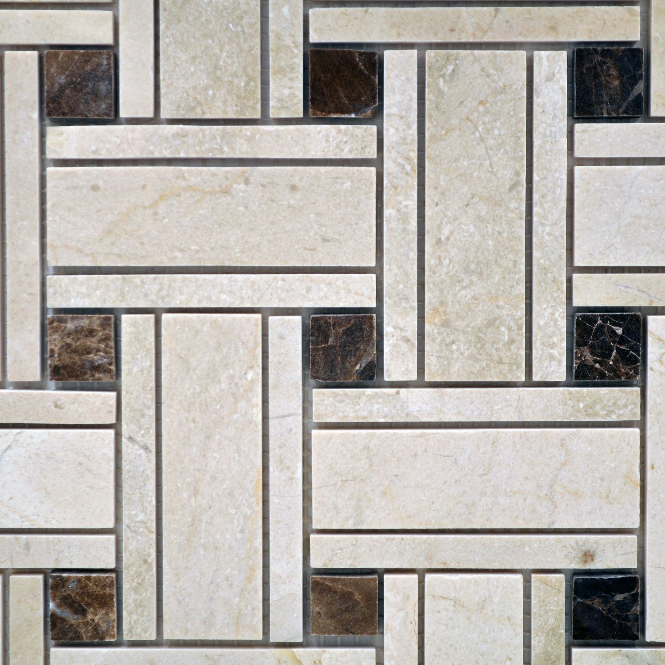 Big basketweave crema with dark emp dot bella casa tile for Bella casa tiles
