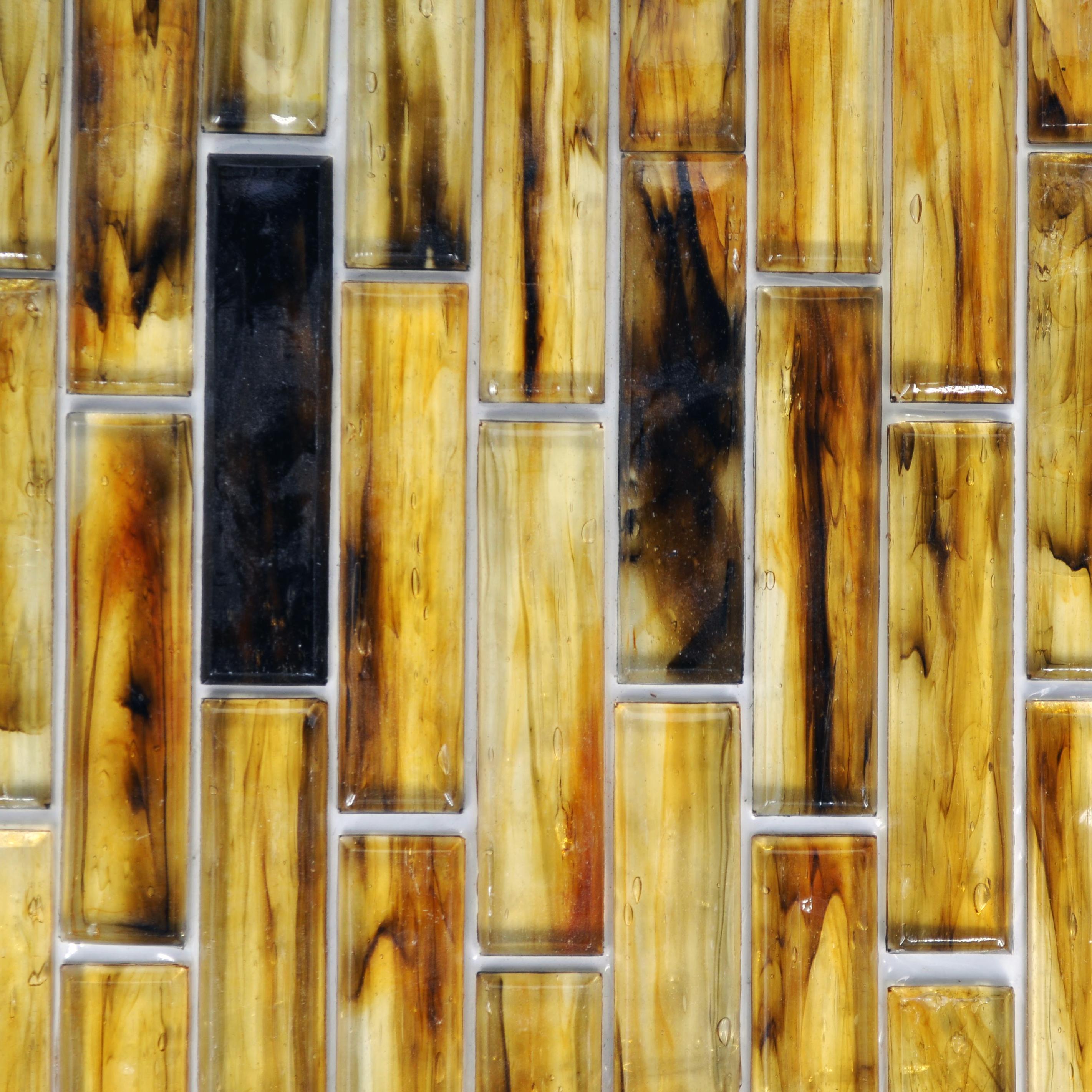 Fusion glass golden brown 06s 1 x 4 linear strips bella for Bella casa tiles