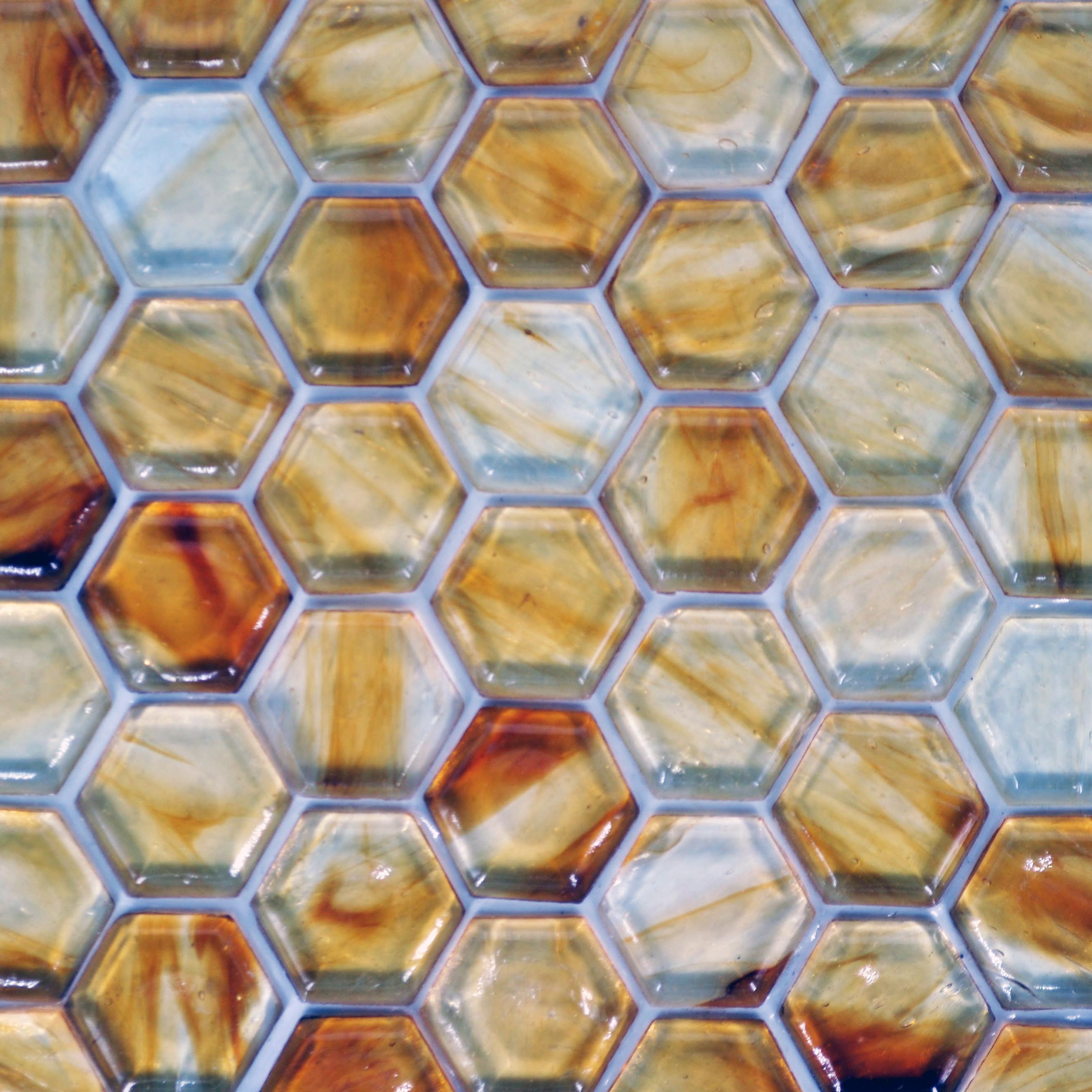 Fusion glass honey 04f 1 x 1 hex bella casa tile collection for Bella casa tiles