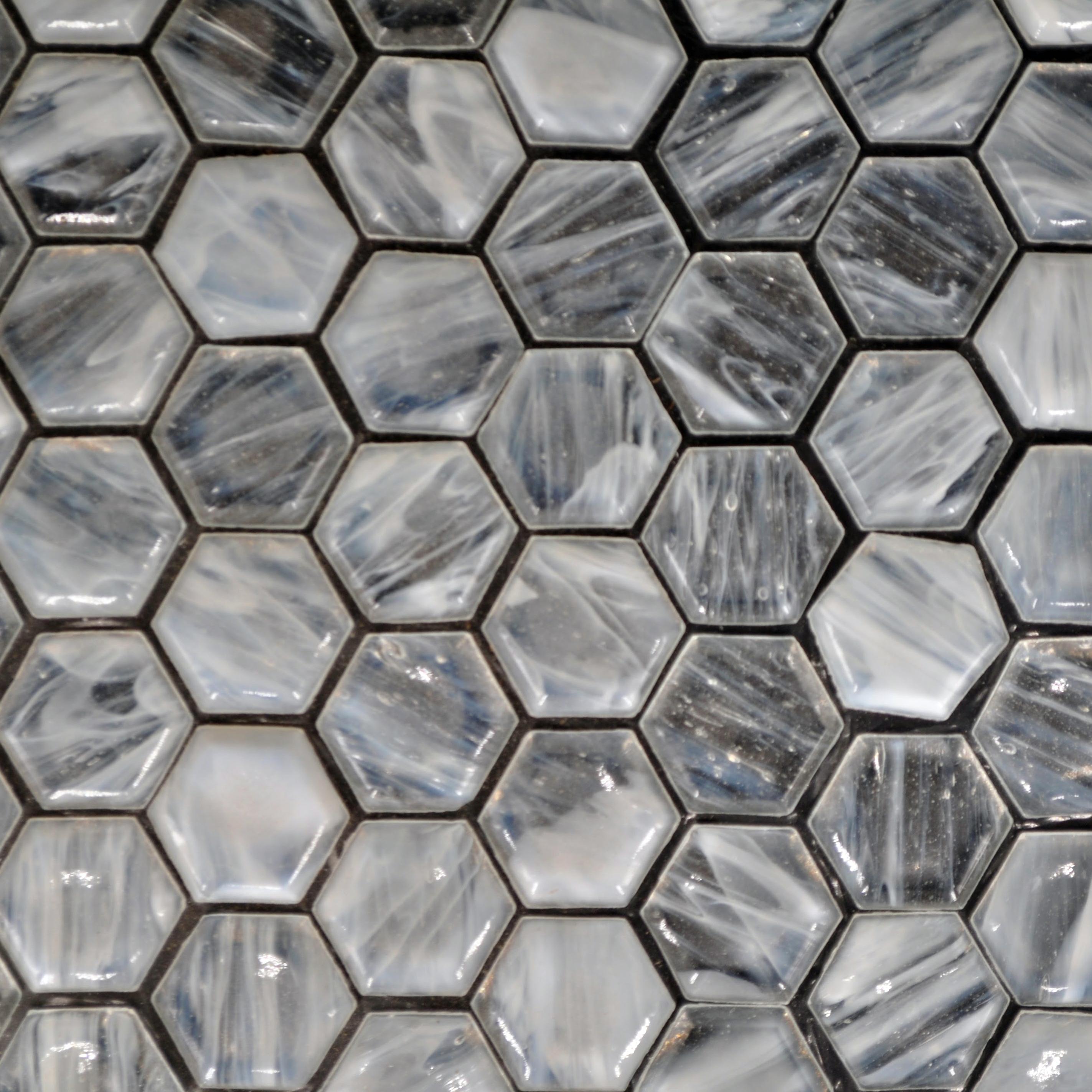 Fusion glass pure white 01f 1 x 1 hex bella casa tile for Bella casa tiles