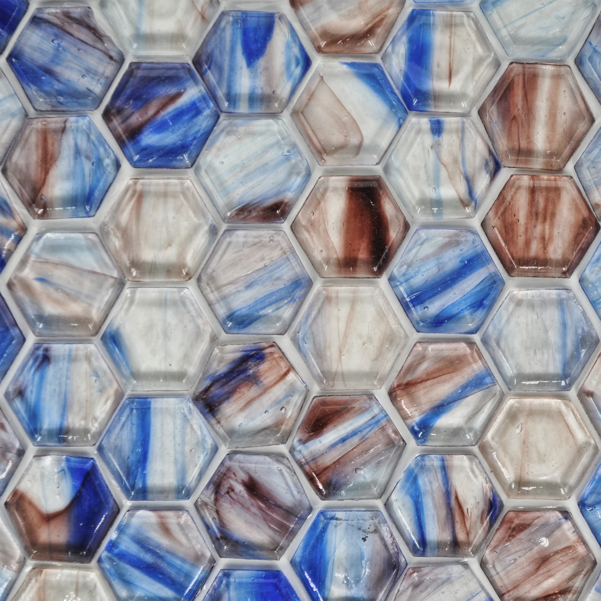Fusion glass blue lavender and white 08f 1 x1 hex 1 for Bella casa tiles