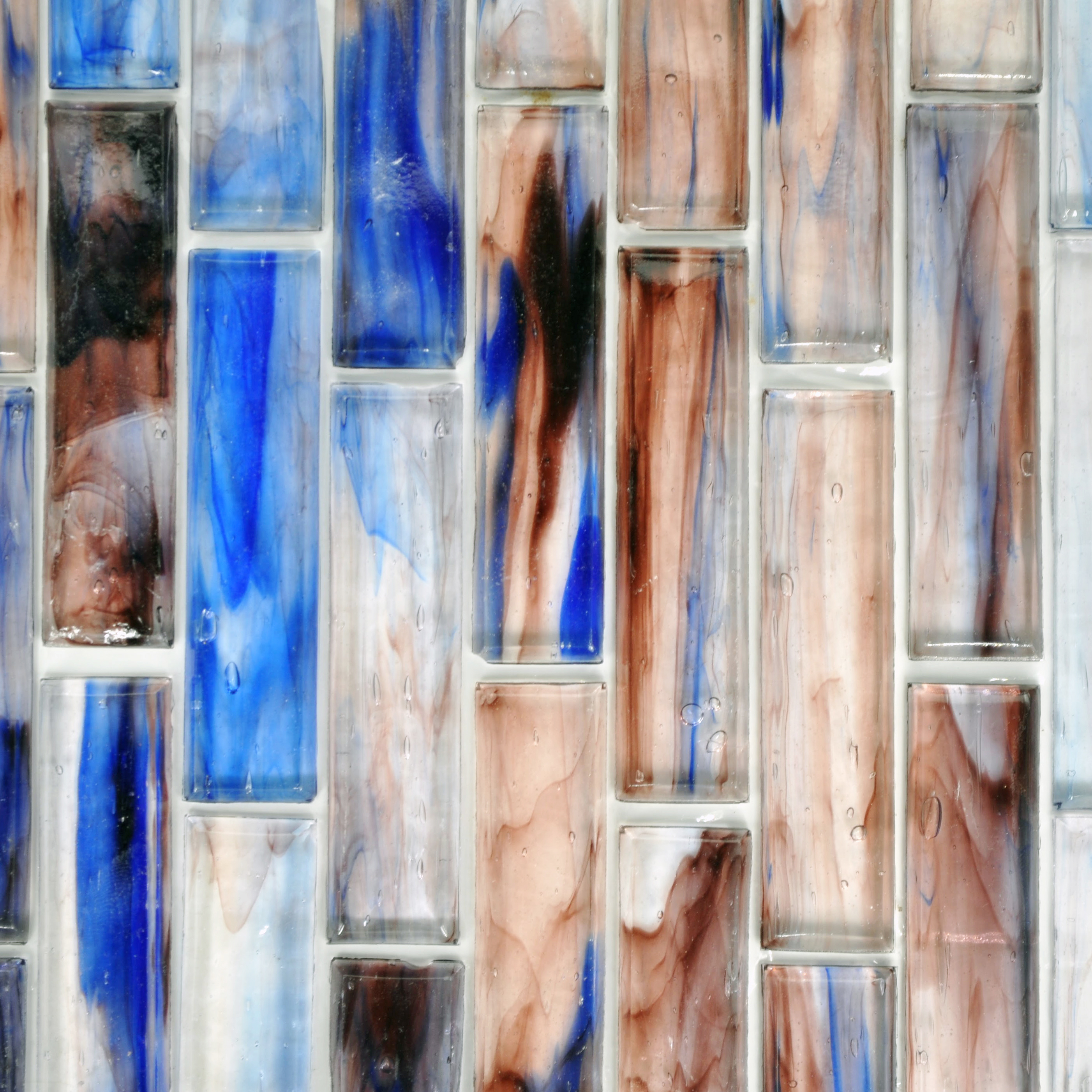 Fusion glass blue lavender and white 08s 1 x 4 linear for Bella casa tiles