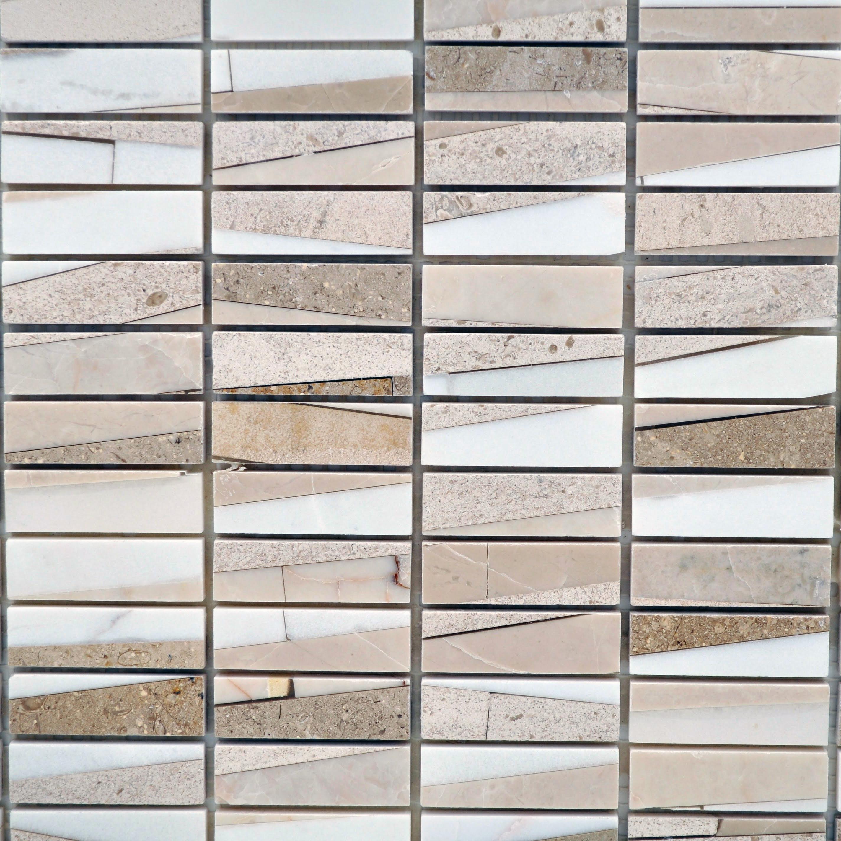 Modern stacked stone marfil 1 2 x 1 3 4 bella casa tile for Bella casa tiles