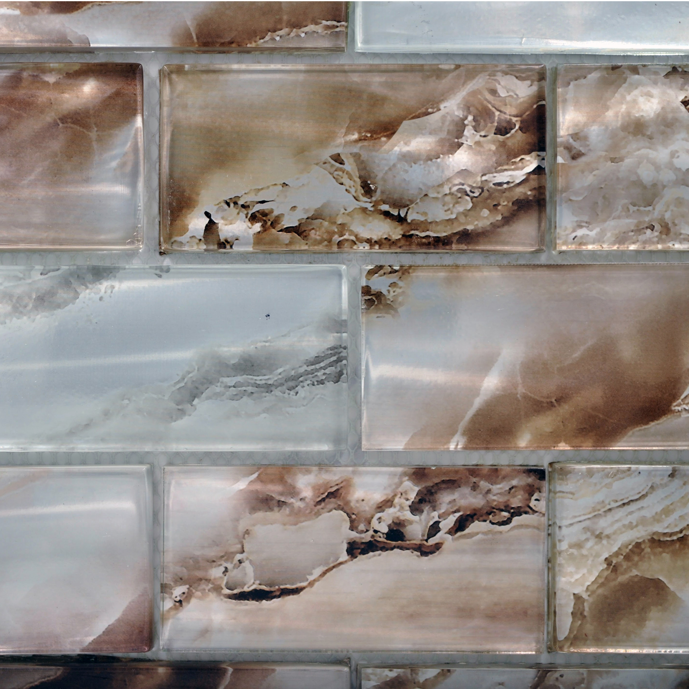 Nebula glass silver brown mh 980 blend 2 x 4 polished for Bella casa tiles
