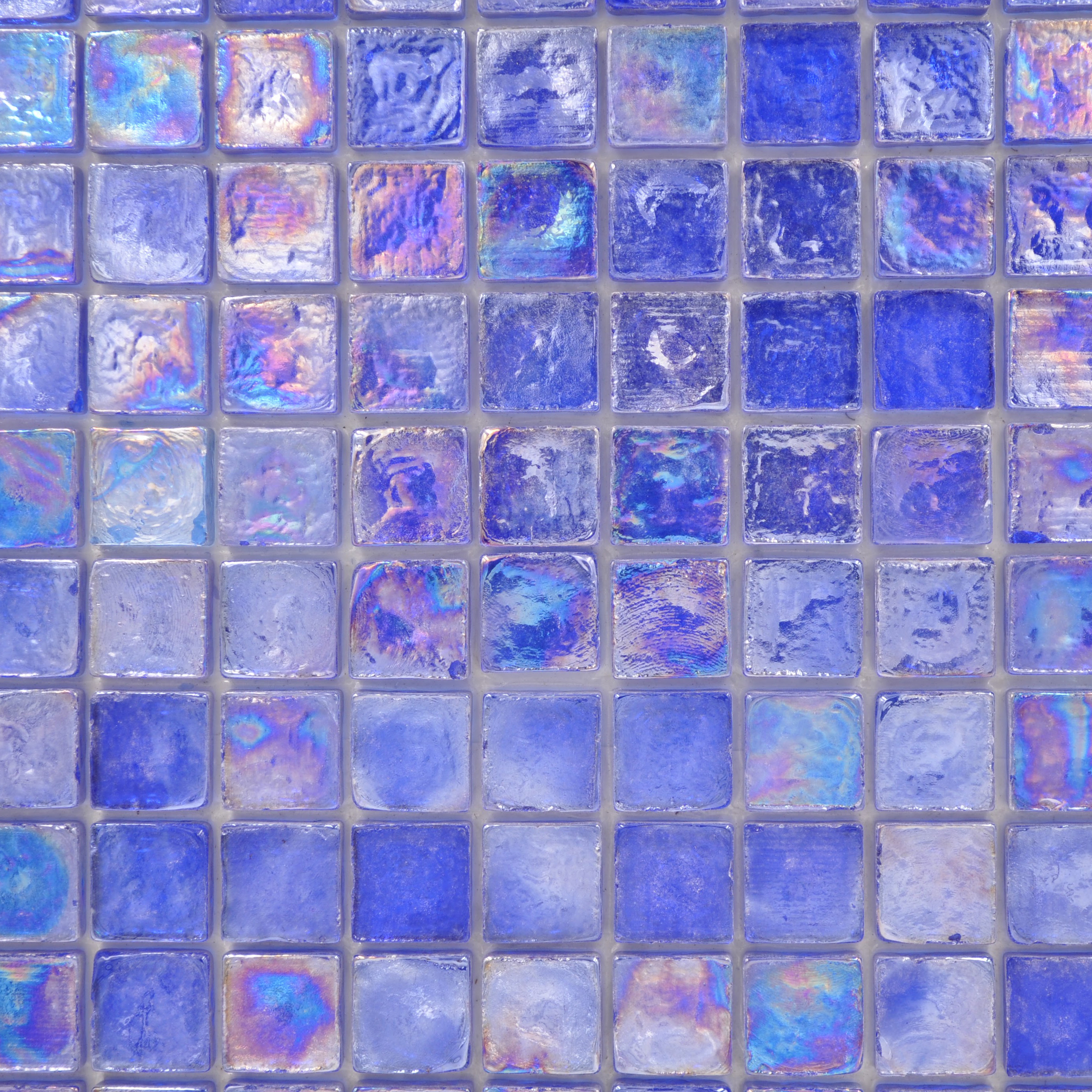 Provocative royal blue1 1x1 reflections glass polished for Bella casa tiles