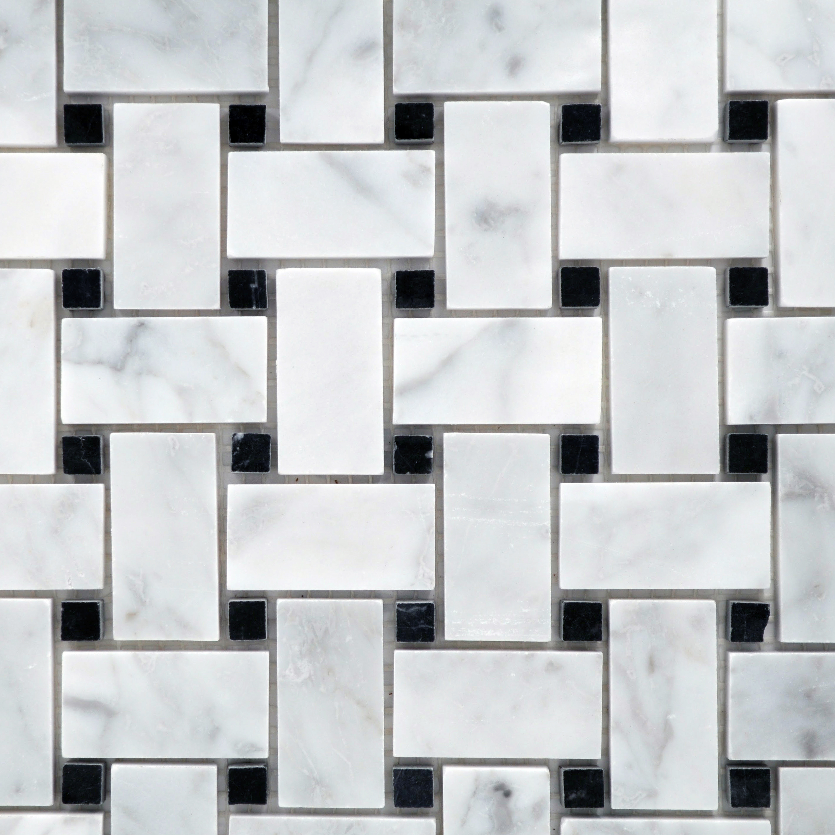 Small basketweave carrara with black dot 2 x 1 and 1 2 for Bella casa tiles