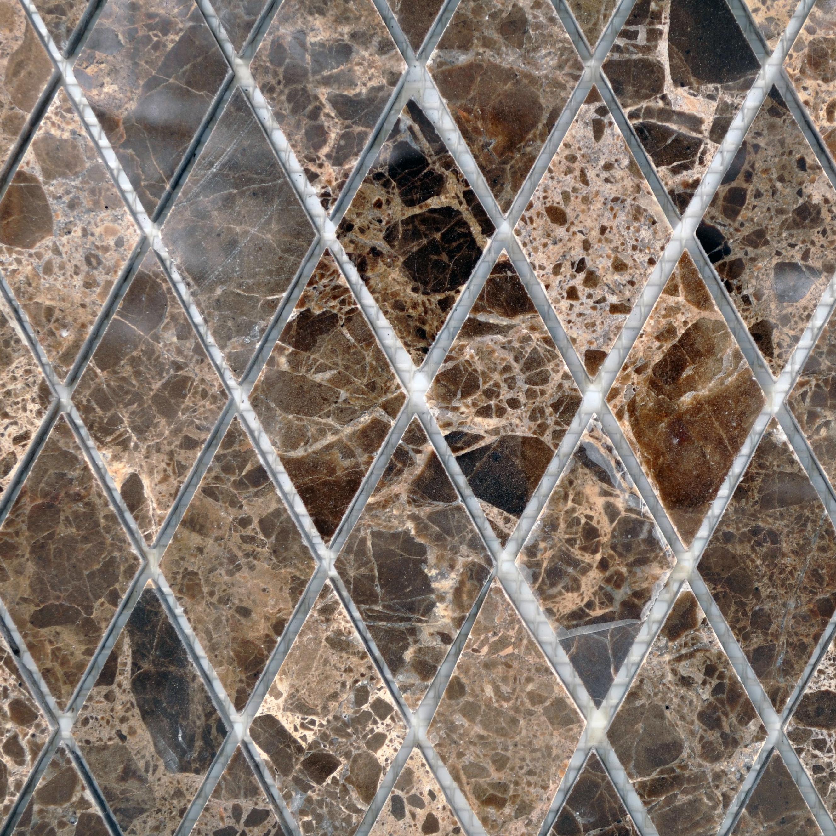 Dark emperador 1x2 harlequin polished bella casa tile for Bella casa tiles