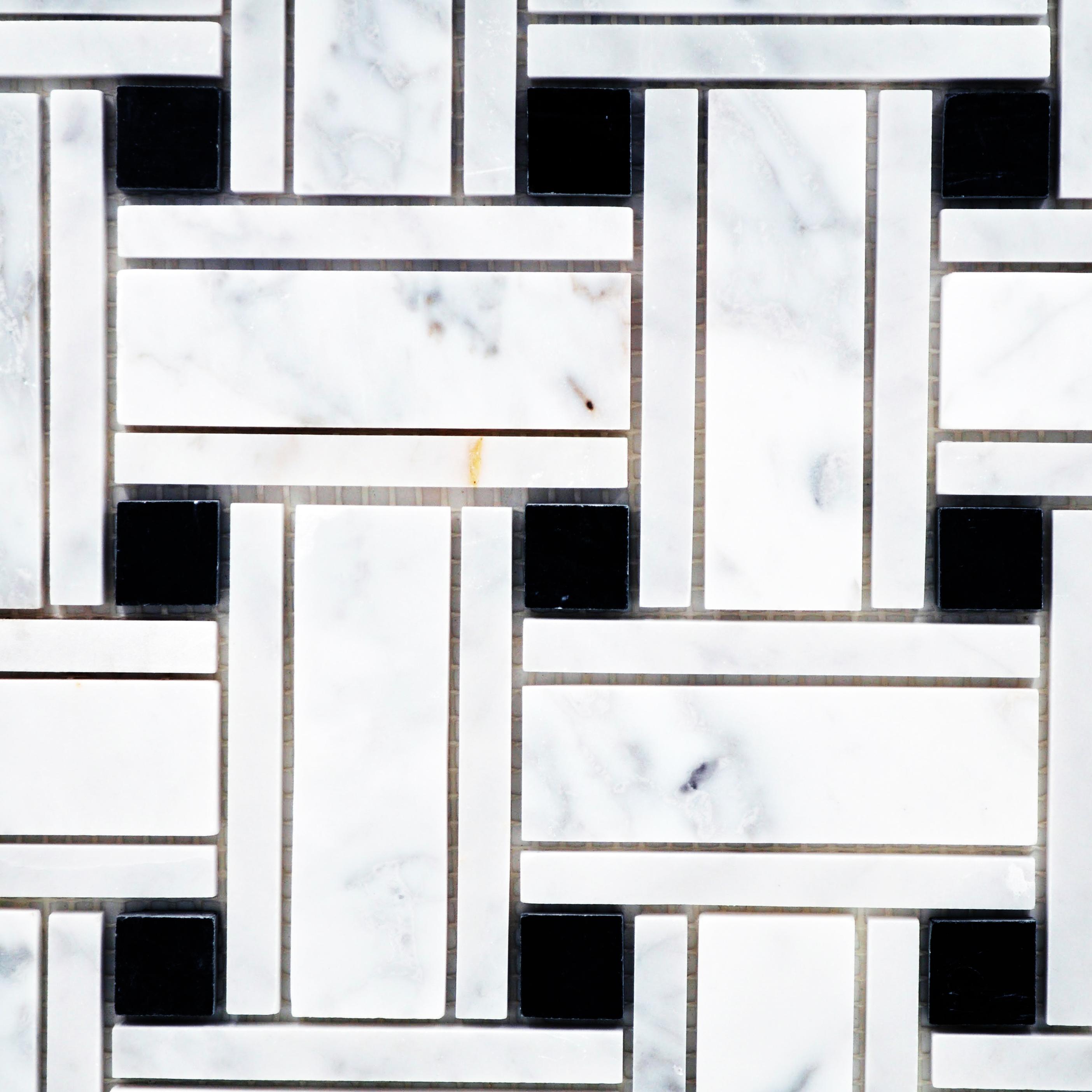 Big Basketweave Carrara And Black Dot Bella Casa Tile