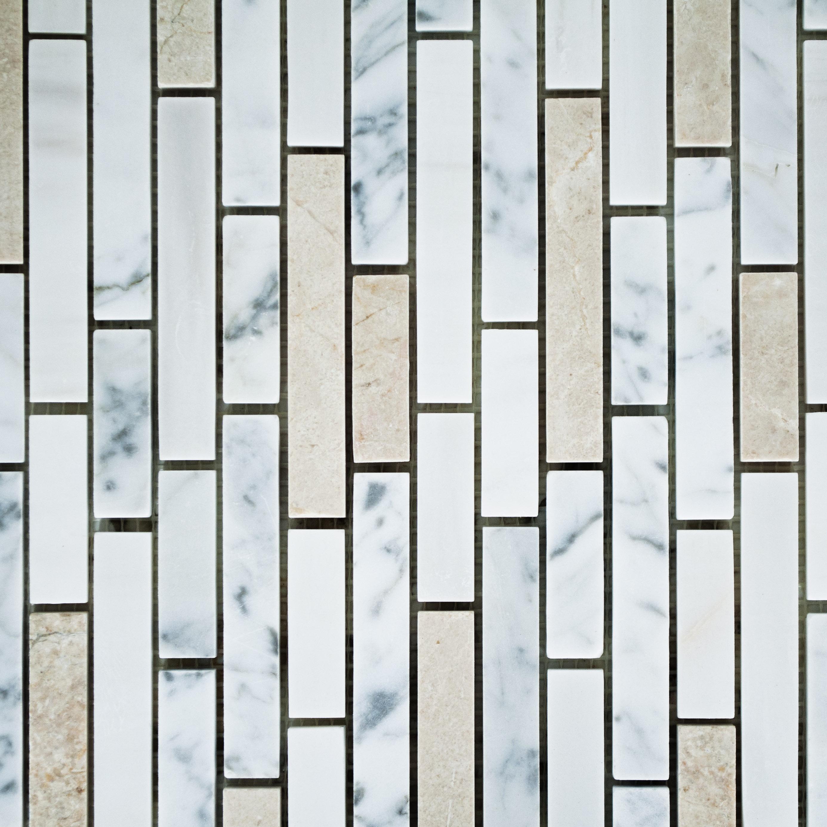 Linear crema carrara mixed linear marble bella casa tile for Bella casa tiles