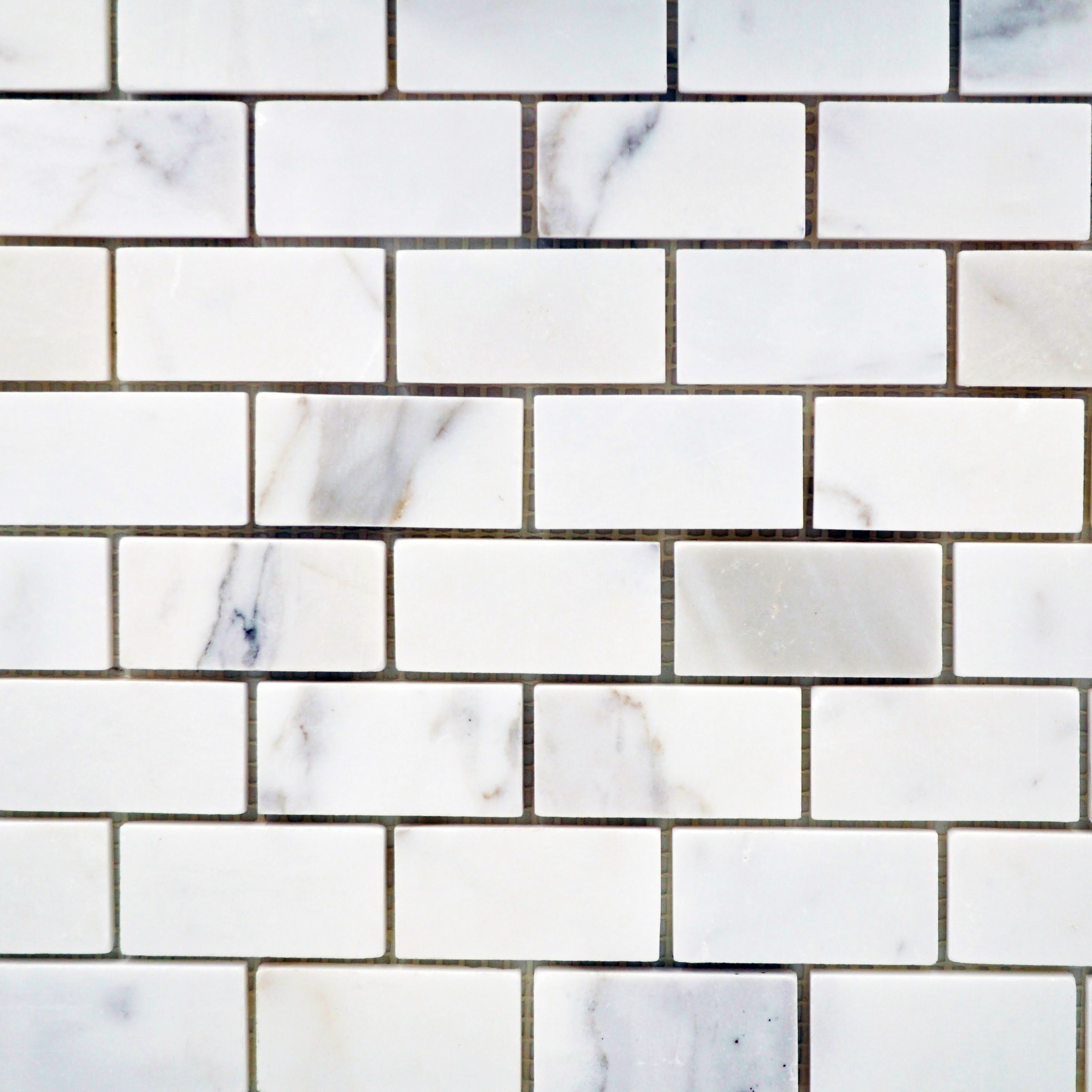 Calacatta marble 1 x 2 staggered brick polished bella for Bella casa tiles