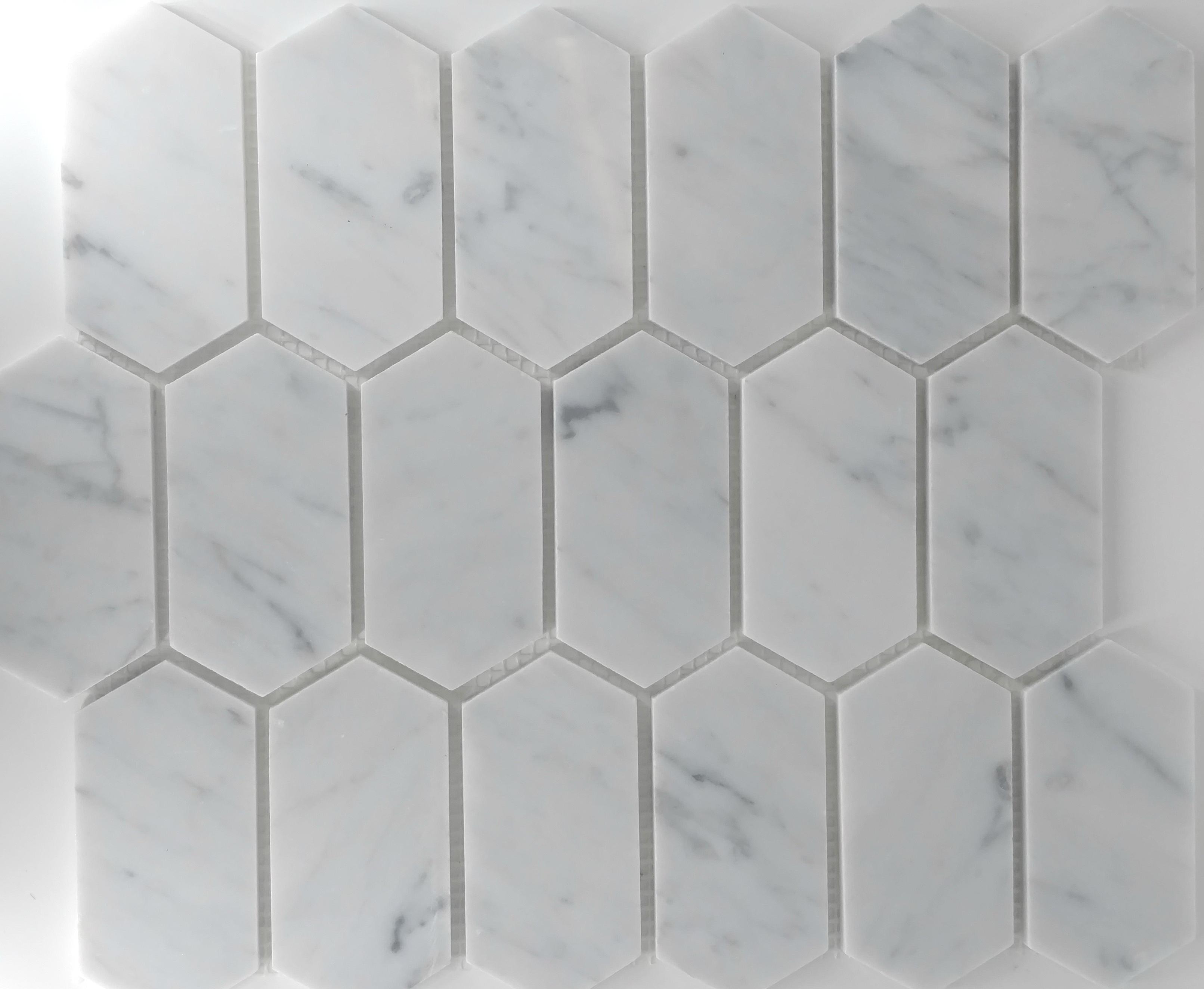 Elongated hex carrara bella casa tile collection for Bella casa tiles