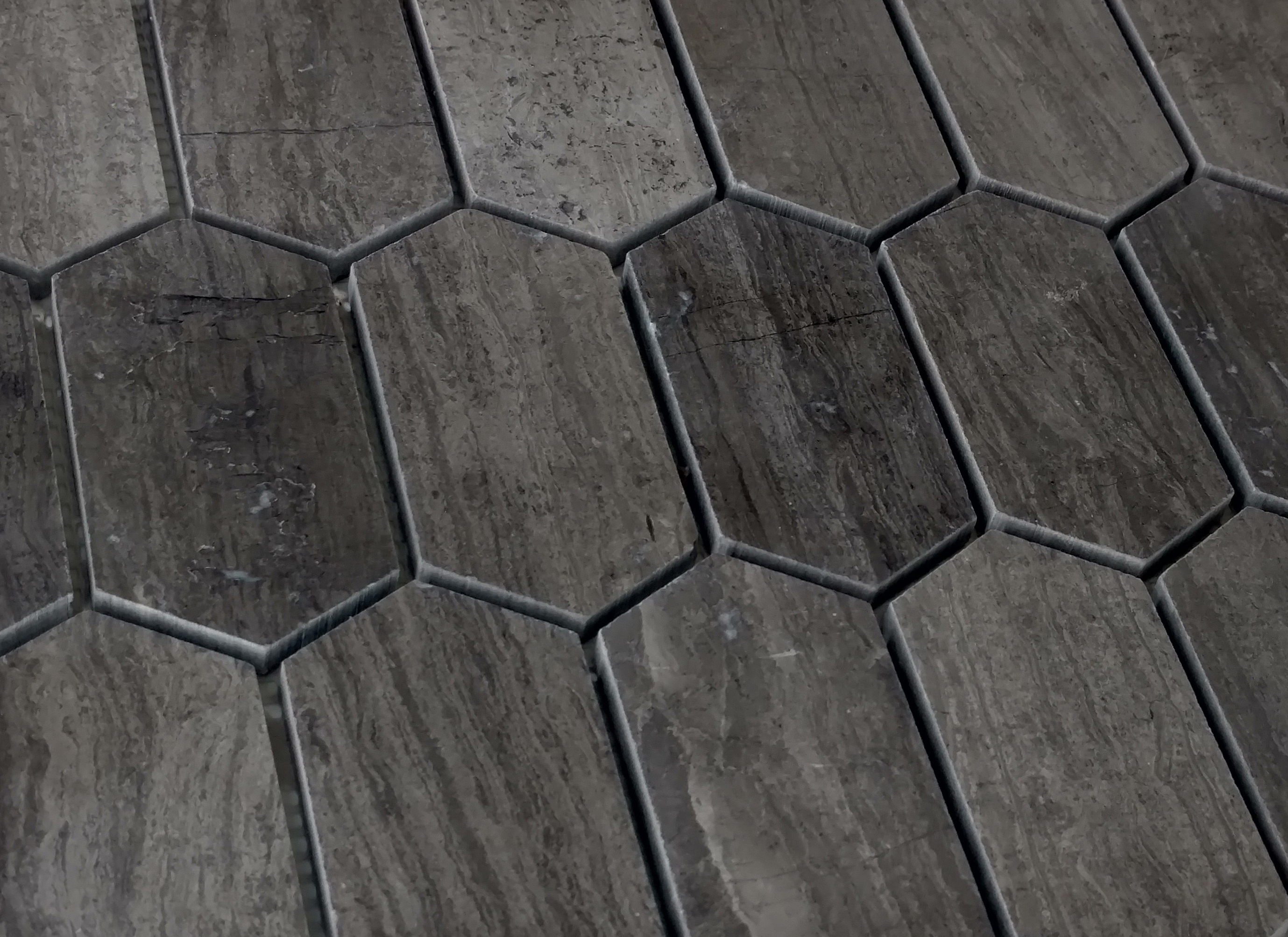 Elongated Hex Gray Vein Bella Casa Tile Collection