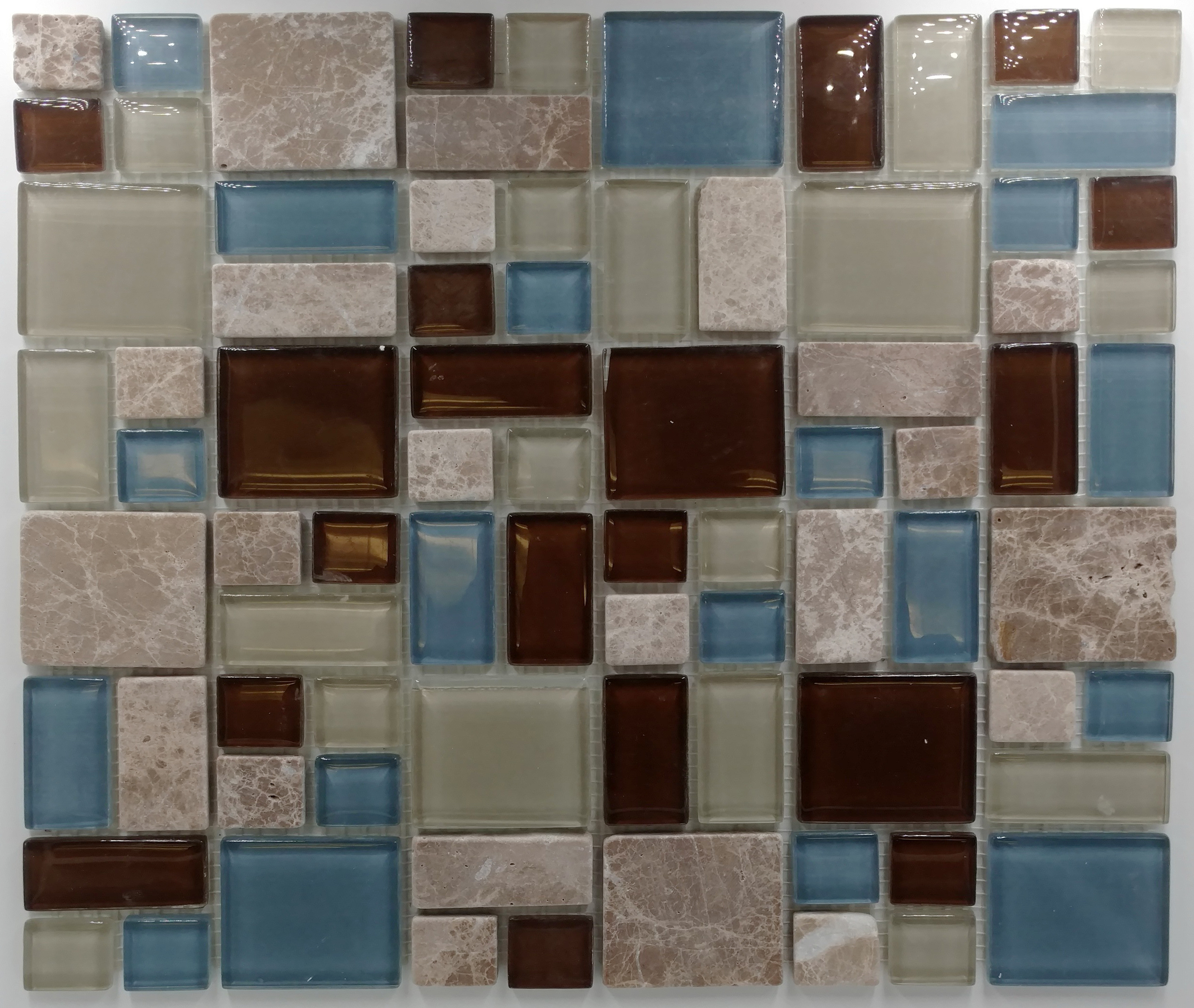 Puzzle pattern blue brown marble with glass bella casa for Bella casa tiles